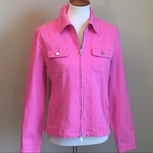 Jones New York Pink Zip Up Jean Jacket